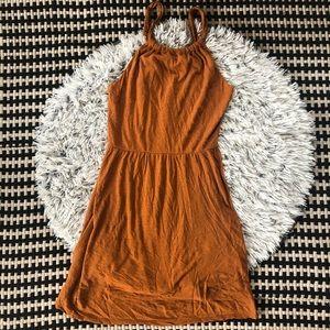 loft beach linen blend orange dress